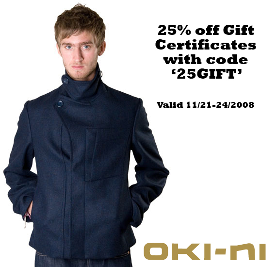 Oki-ni 25% off Gift Certificates
