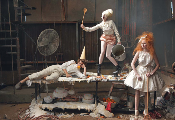 Vogue | Little Girl & Boy Lost–Andrew Garfield, Lily Cole & Lady GaGa by Annie Leibovitz