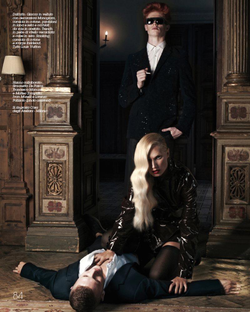 Andrea Bellisario, Taylor Cowan & Michael McCaughley by Oskar Cecere in Louis Vuitton for MFL Magazine
