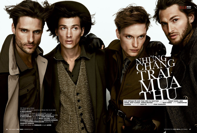 Adrien Brunier, Jake Davies, Matt Clunan & Tommy Dunn Don Fall Pieces for Elle Man Vietnam