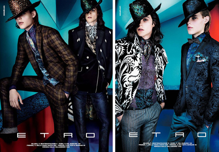Miles McMillan & Ton Heukels are Clad in Prints for Etro's Fall/Winter 2012 Campaign