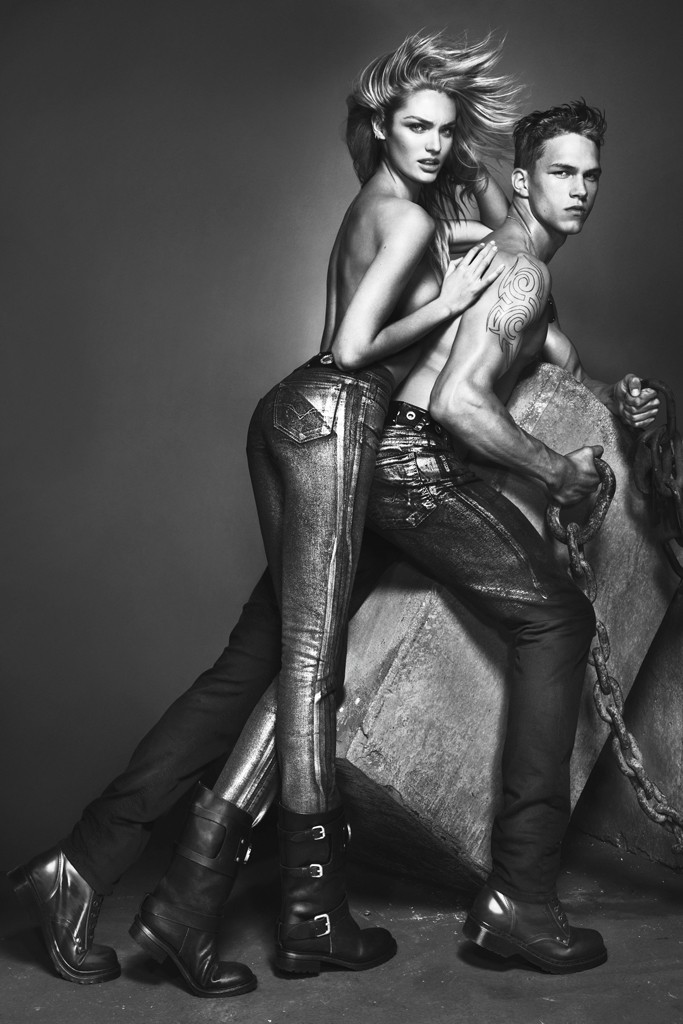 Dmitriy Tanner Cozies up to Candice Swanepoel for Versace Jeans' Fall/Winter 2012 Campaign