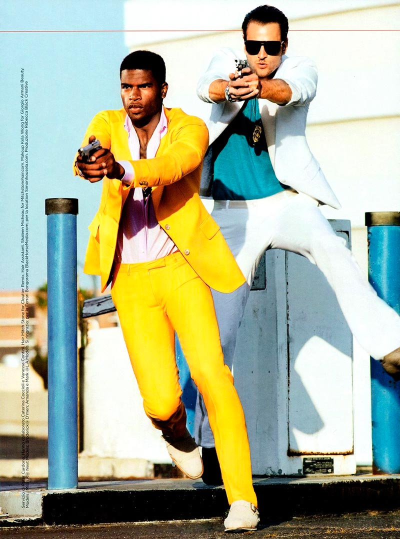 Models Milan Krouzil and Broderick Hunter channel Miami Vice style for a June 2012 GQ Italia fashion spread from photographer Tony Kelly.