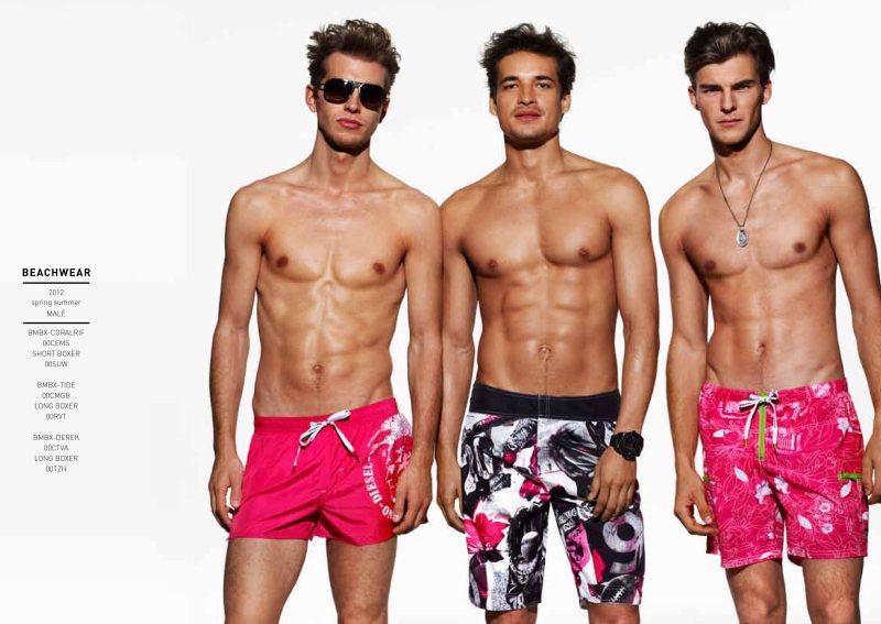 Jean Carlos Santos, Josh Parkinson & Patrick Kafka by John Scarisbrick for Diesel Spring/Summer 2012 Beachwear & Underwear
