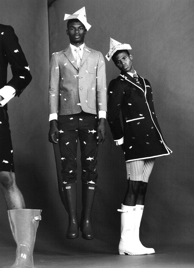 Salieu Jalloh, Henry Watkins & Ambrose Carter by Benny Horne in Thom Browne for Wonderland