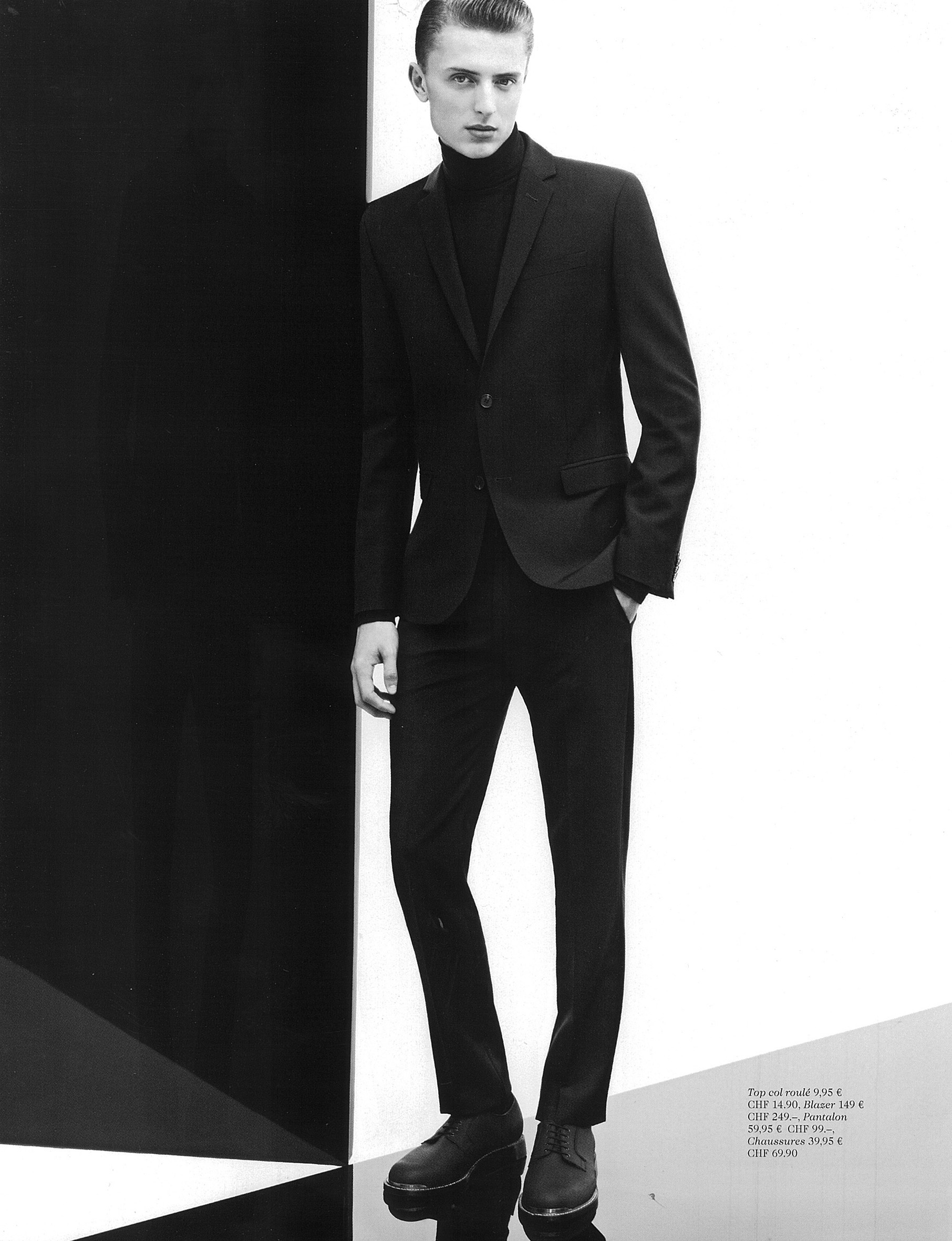 Max Rendell & Robin Ahrens are 'Men in Black' for H&M Winter 2012 Magazine
