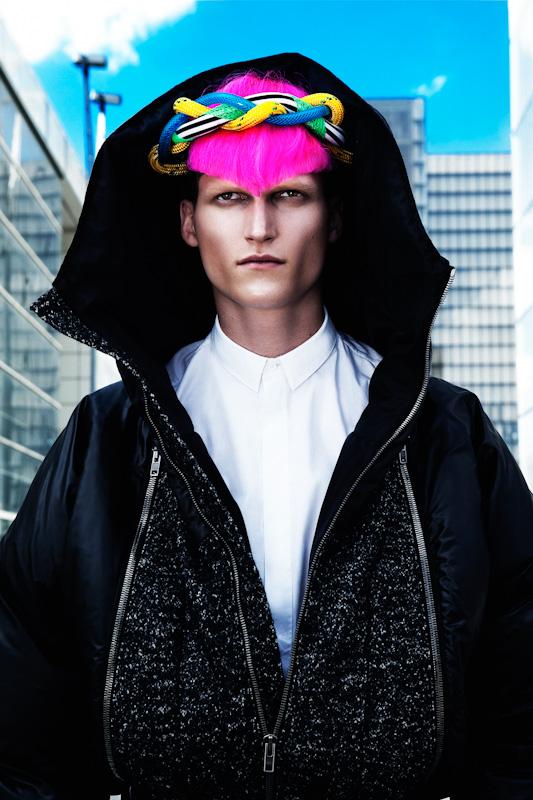 Jakub Nowocien Rocks Colored Hair for L'Officiel Hommes China