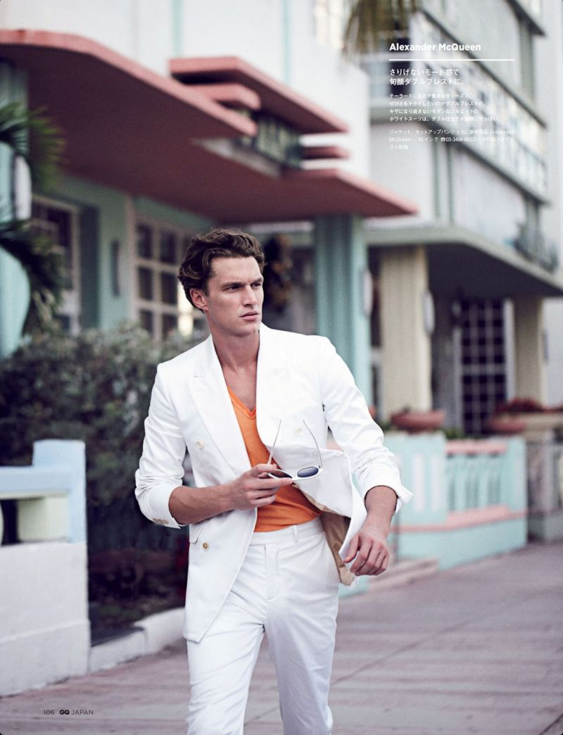 Connecting with fashion photographer Arnaldo Anaya-Lucca, South African model Shaun DeWet channels Miami Vice style for the pages of GQ Japan.