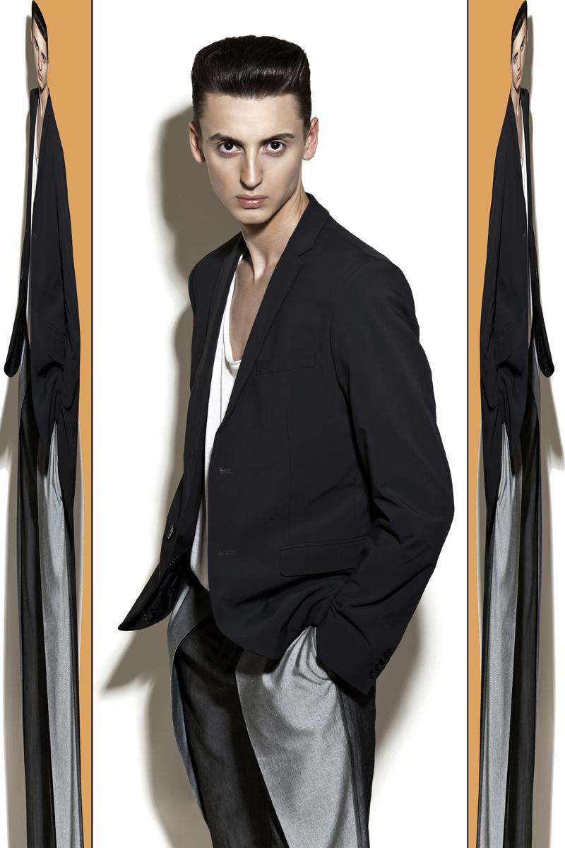 1 (jacket H&M, top Calvin Klein, trousers Piotr Drzal)