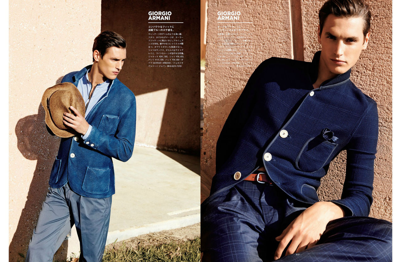Mathias Bergh Dons Blue for GQ Japan