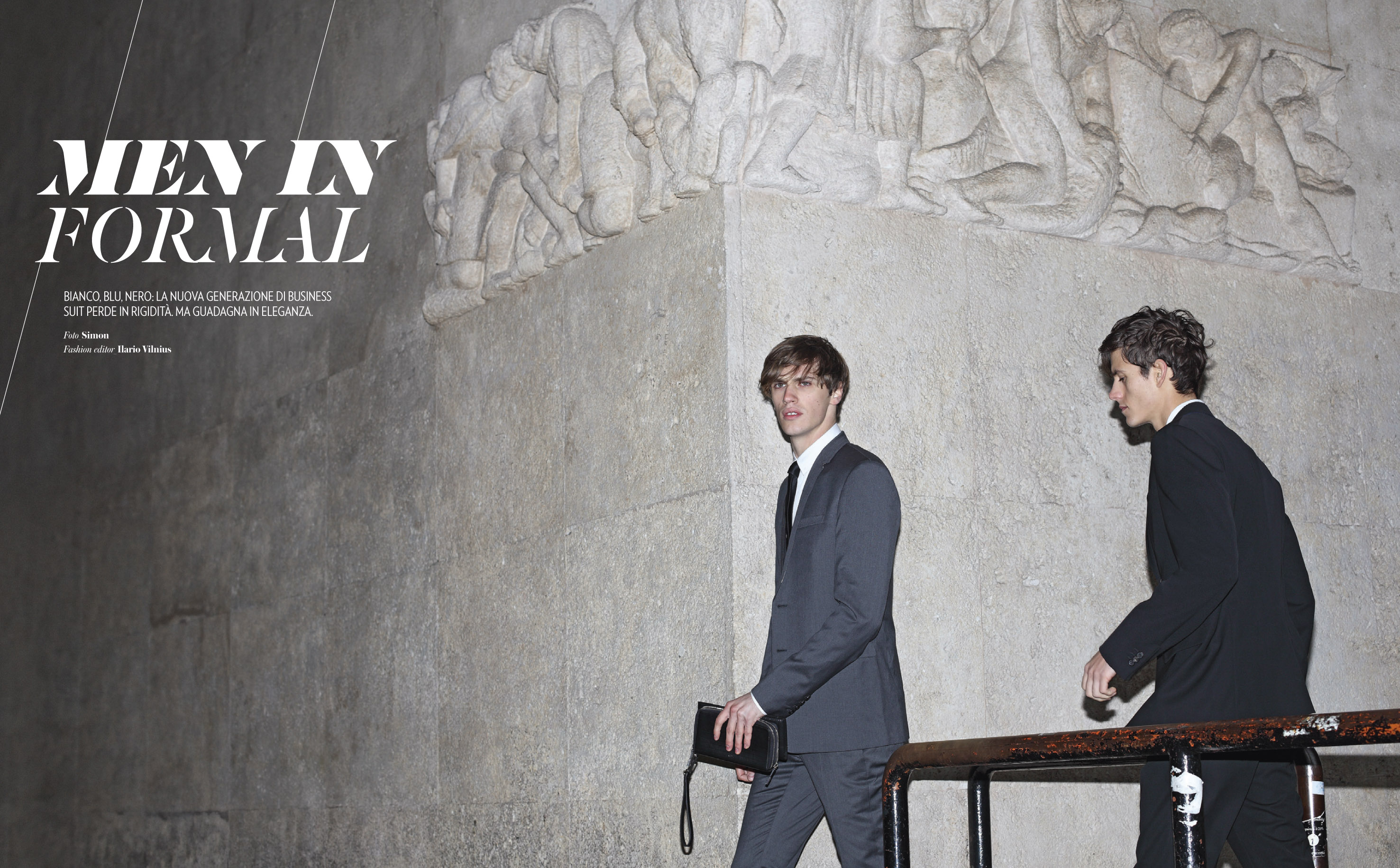Simon Shoots Models in Suits for Italy's Icon Magazine