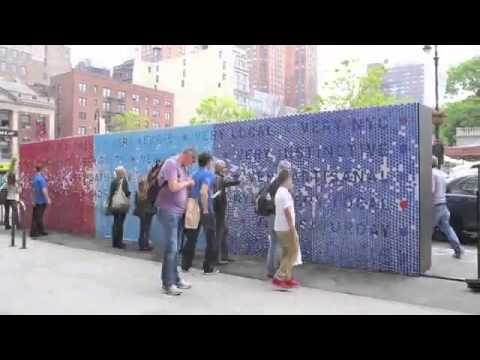 """Perry Ellis Takes Over Union Square, New York City, for an Art Installation, """"Pick Your Punctuation"""""""