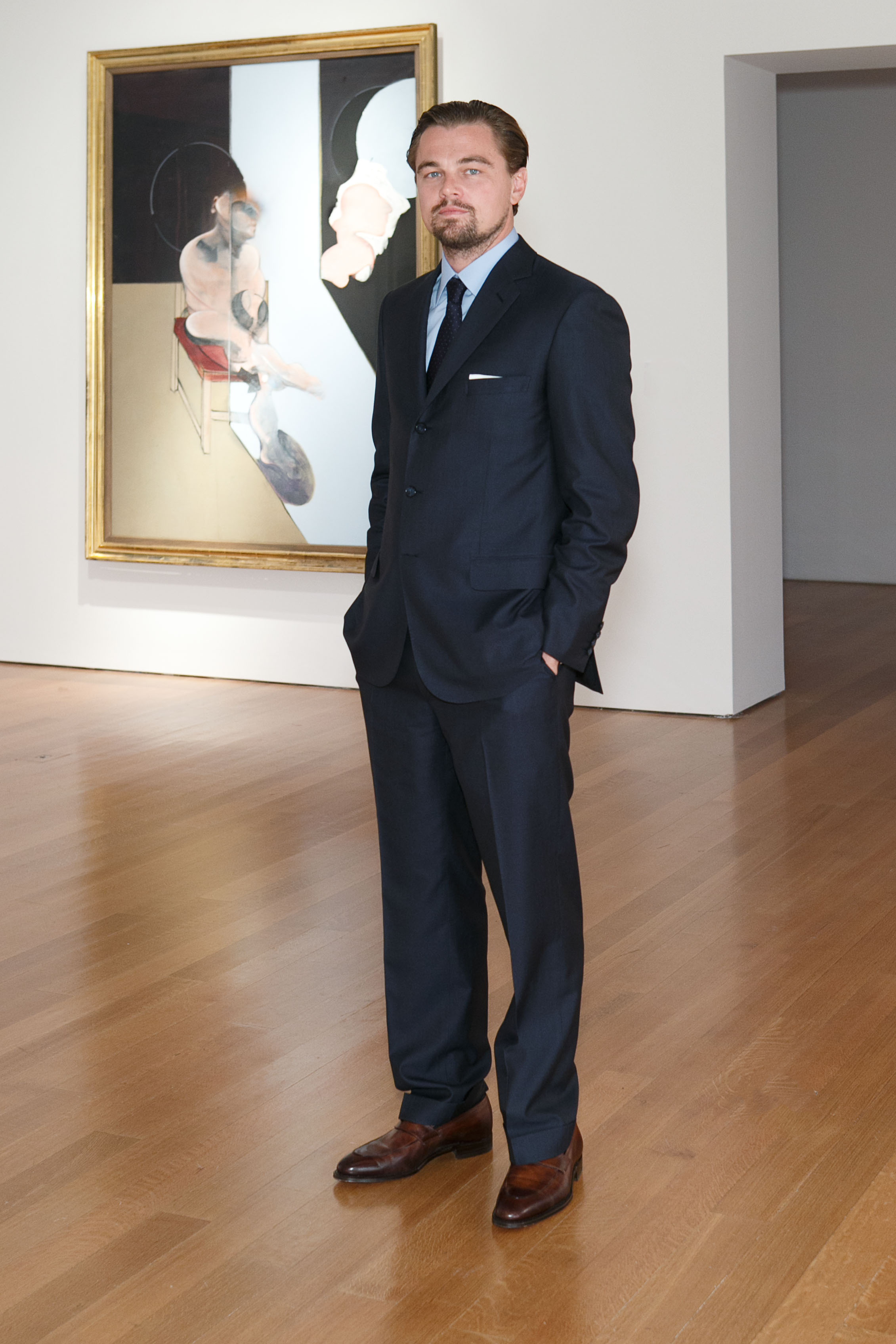Leonardo DiCaprio wearing a Brioni suit at the Christie's Gala Dinner