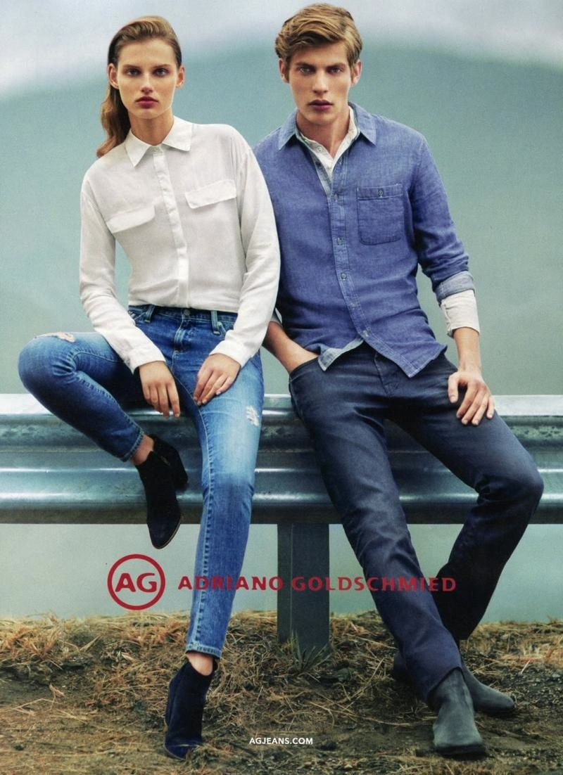 AG features its suede ankle boots for men and women in an advertising campaign.