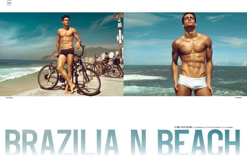 Caio Cesar Hits the Beach for L'Officiel Hommes Korea