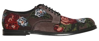 799b1945d4b8 Dolce   Gabbana Cross-Stitched Rose Suede Derby Shoes