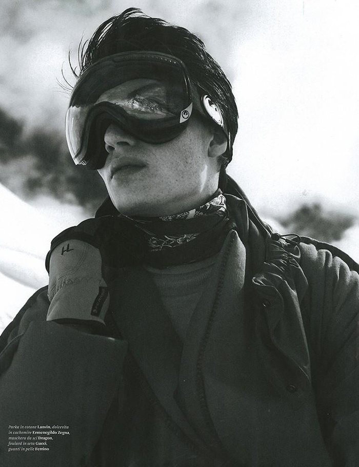 Jester White Hits the Snowy Slopes for L'Officiel Hommes Italia