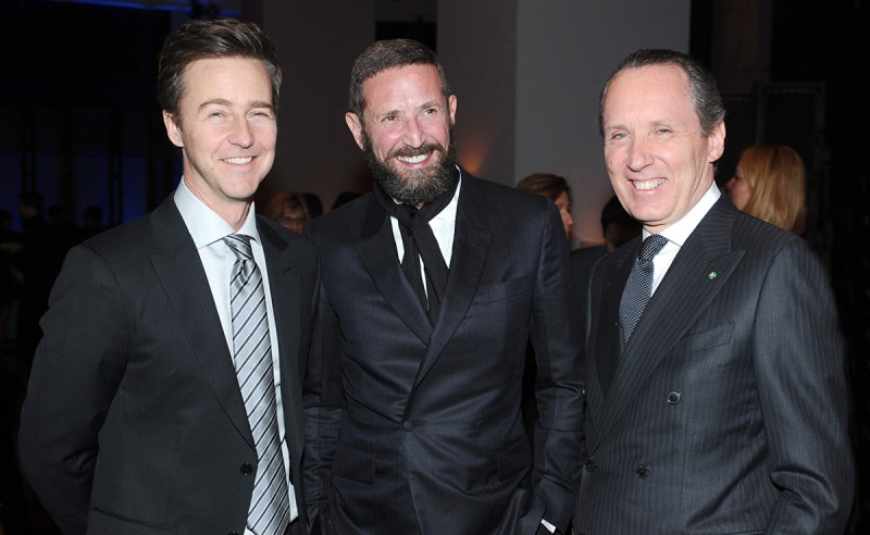 Edward Norton, Stefano Pilati and Gildo Zegna