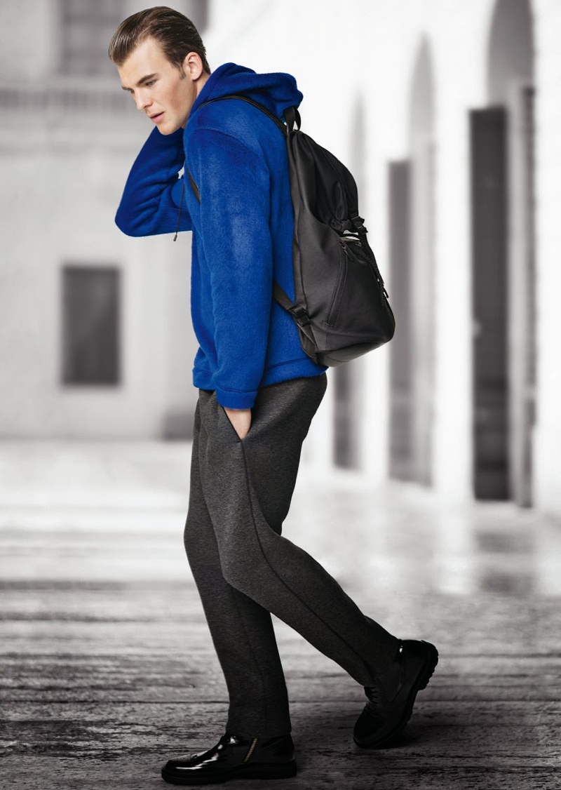 Patrick Kafka Dons Sporty Pieces from Emporio Armani's Fall/Winter 2013 Collection