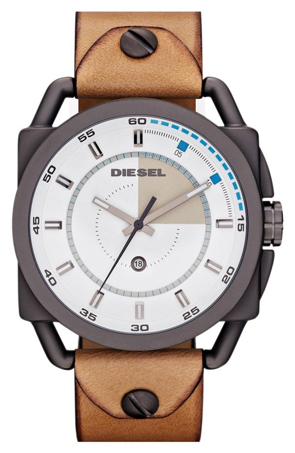 Diesel 'Descender' Leather Strap Watch, 50mm