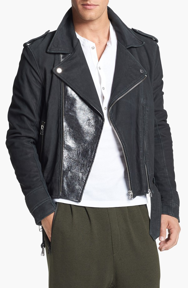 Adidas SLVR Stone Washed Leather Biker Jacket