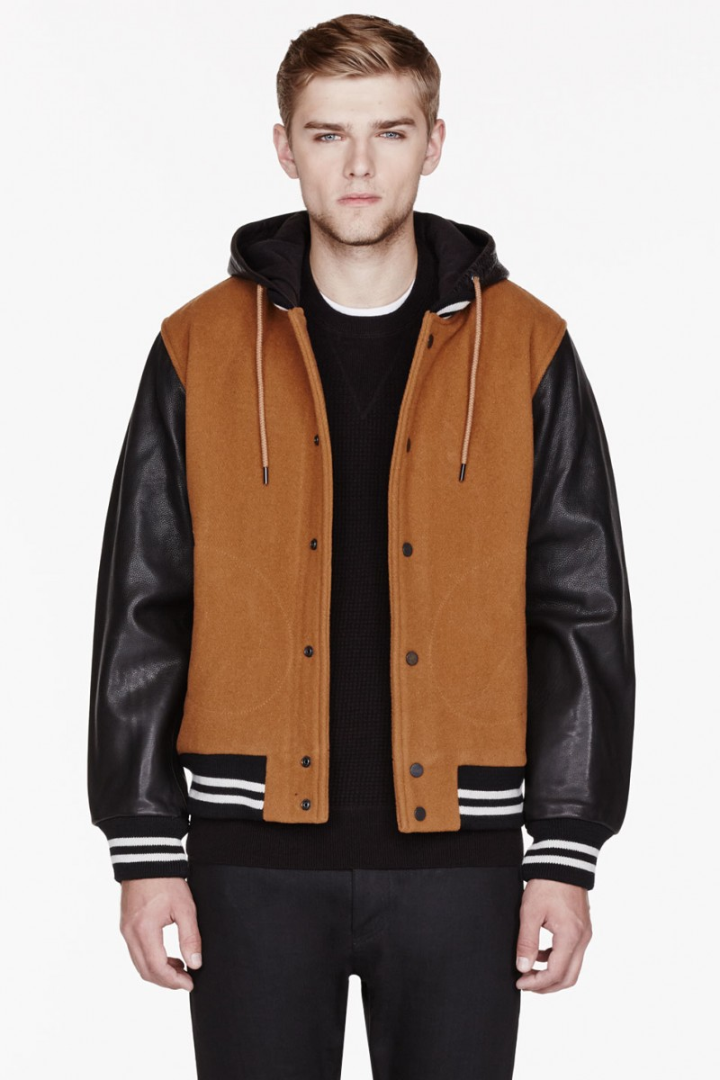 Marc by Marc Jacobs TAN WOOL & LEATHER HOODED VARSITY JACKET