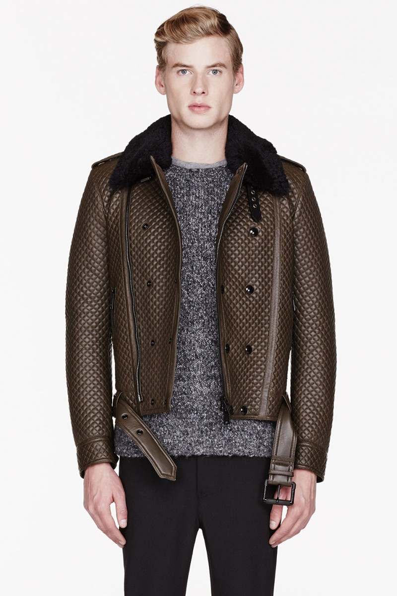 Belstaff BROWN LEATHER & SHEARLING QUILTED BUCKTON JACKET