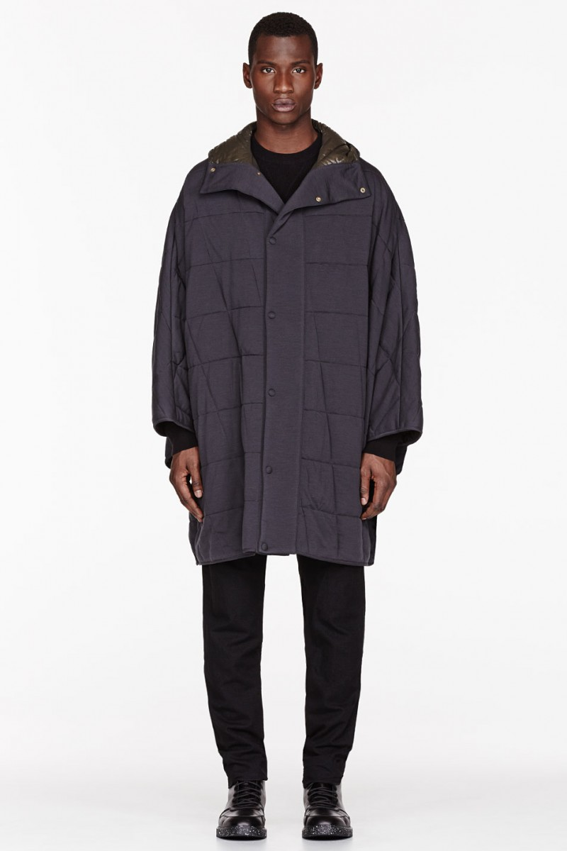 Paul Smith CHARCOAL WOOL & DOWN HOODED CAPE