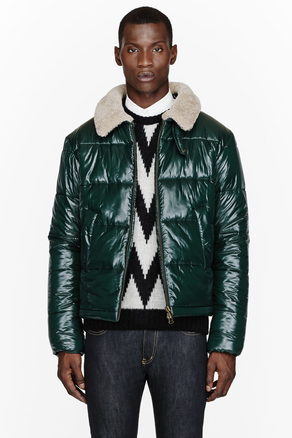 Ami Green Shearling-Collared Puffer Jacket