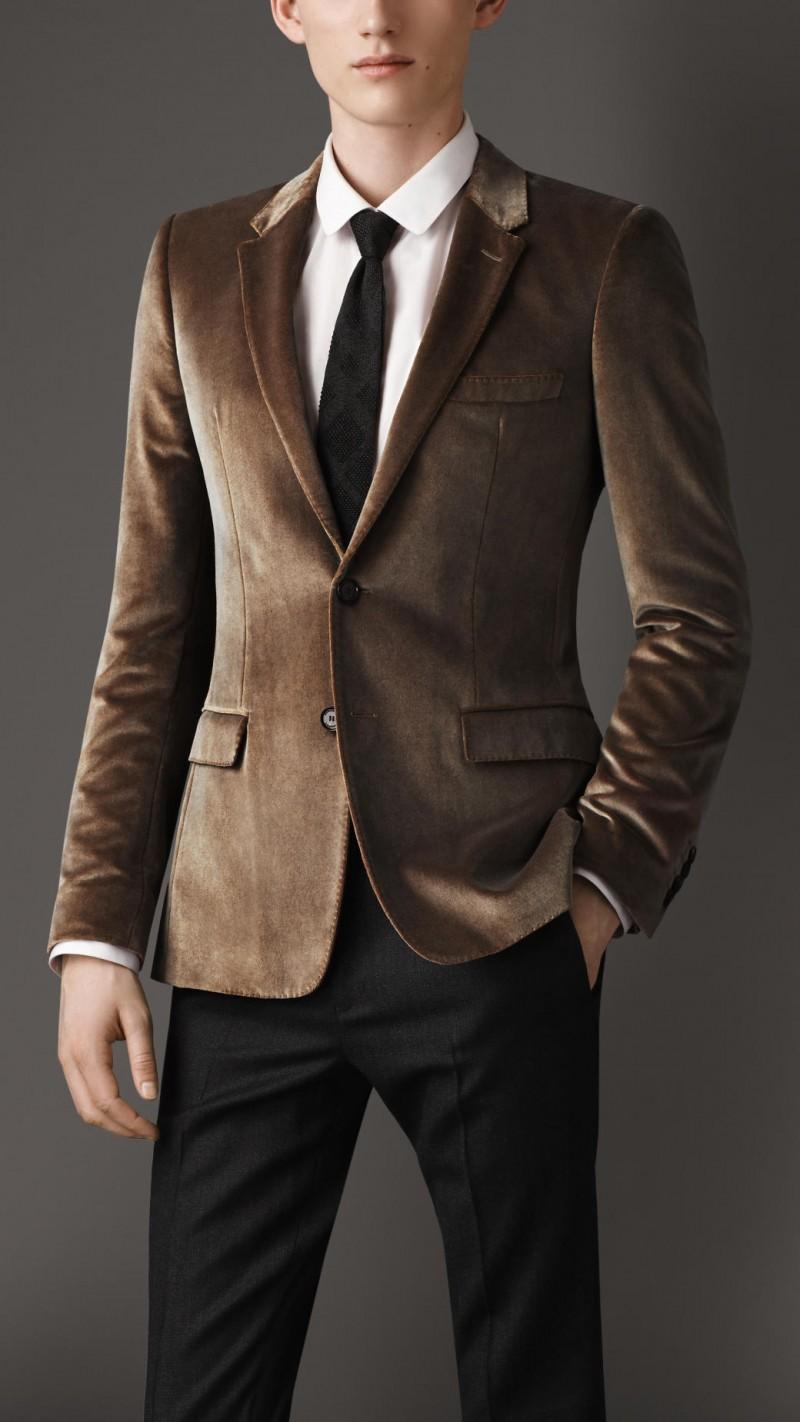 Burberry Slim Fit Overprint Velvet Jacket