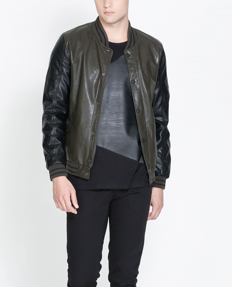 Zara Faux Leather Jacket with Knitted Collar