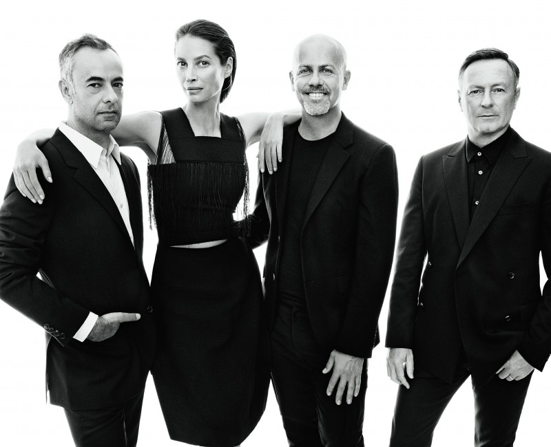 Francisco Costa, Italo Zucchelli and Kevin Carrigan, the creative directors of Calvin Klein's fashion lines, with longtime house muse Christy Turlington