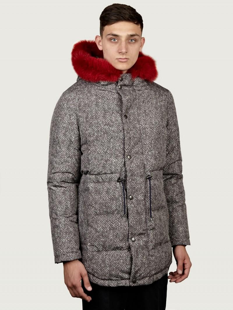Carven Men's Fur Collar Down Parka Coat
