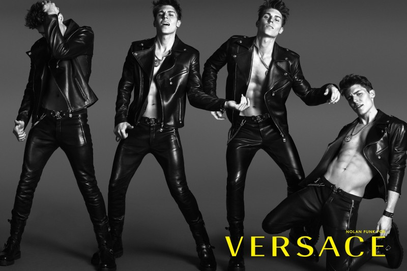 Gerard Nolan Funk Versace Campaign shirtless leather