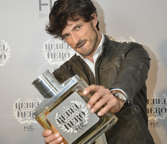 Andres Velencoso Segura Fronts 'Rebel Hero' H.E. by Mango Fragrance Campaign model