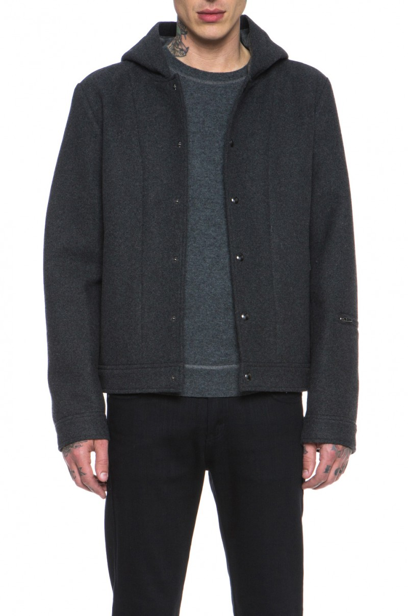 T by Alexander Wang Wool Bonded Neoprene Jacket in Charcoal