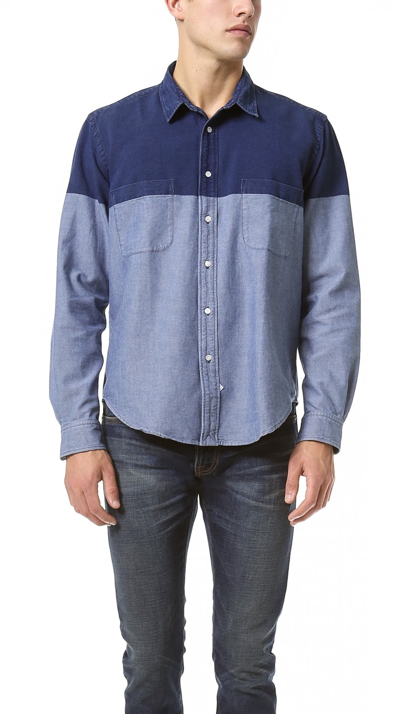 Sidian, Ersatz & Vanes Chambray Color Block Shirt