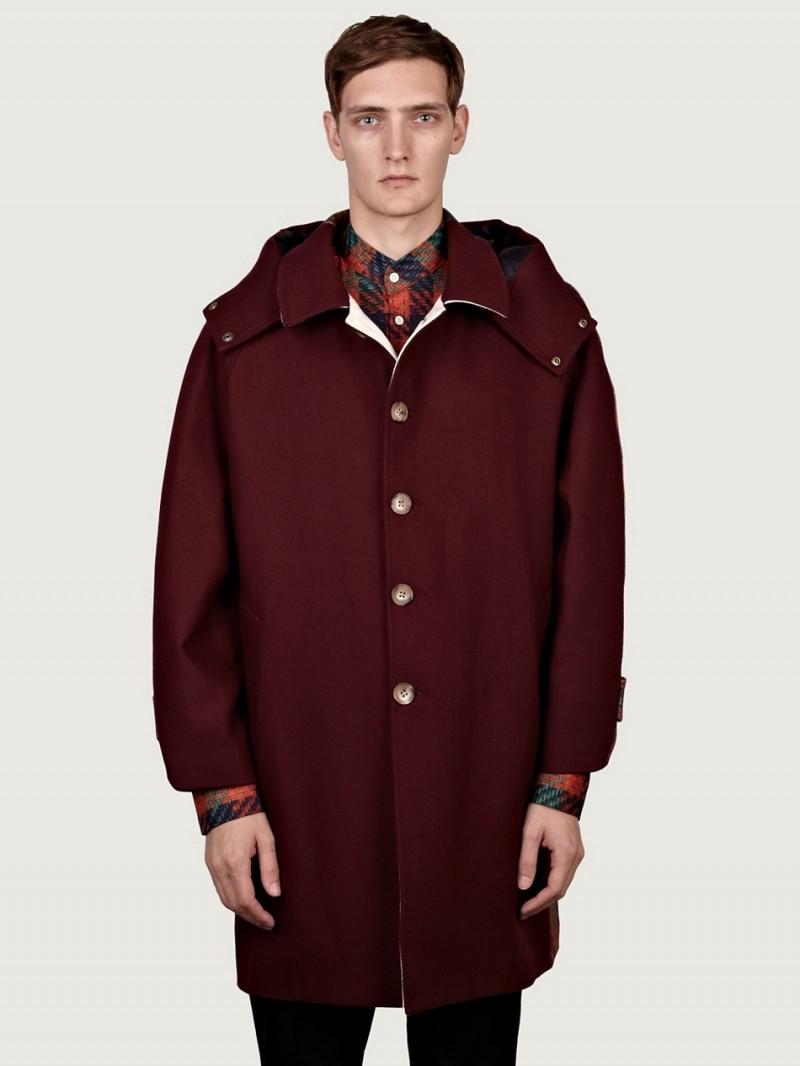 Agi & Sam Men's Knit Check Back Short Raglan Coat