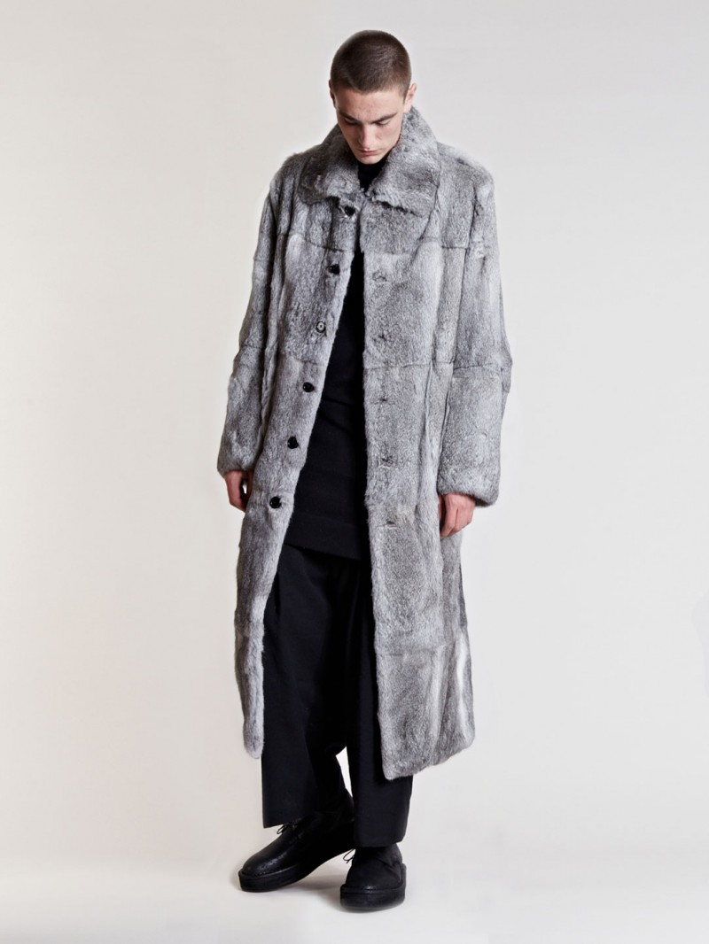 Ann Demeulemeester Men's Soendro Coat From AW13 Collection In Silver
