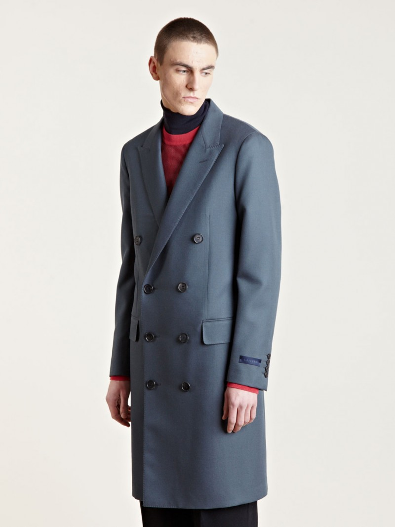 Lanvin Men's Double Breasted Coat From AW13 Collection In White