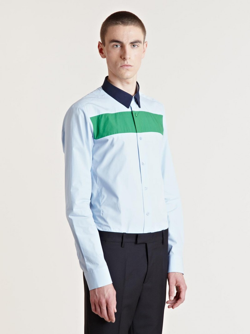 Raf Simons Men's Contrast Colour Shirt From AW13 Collection In Blue