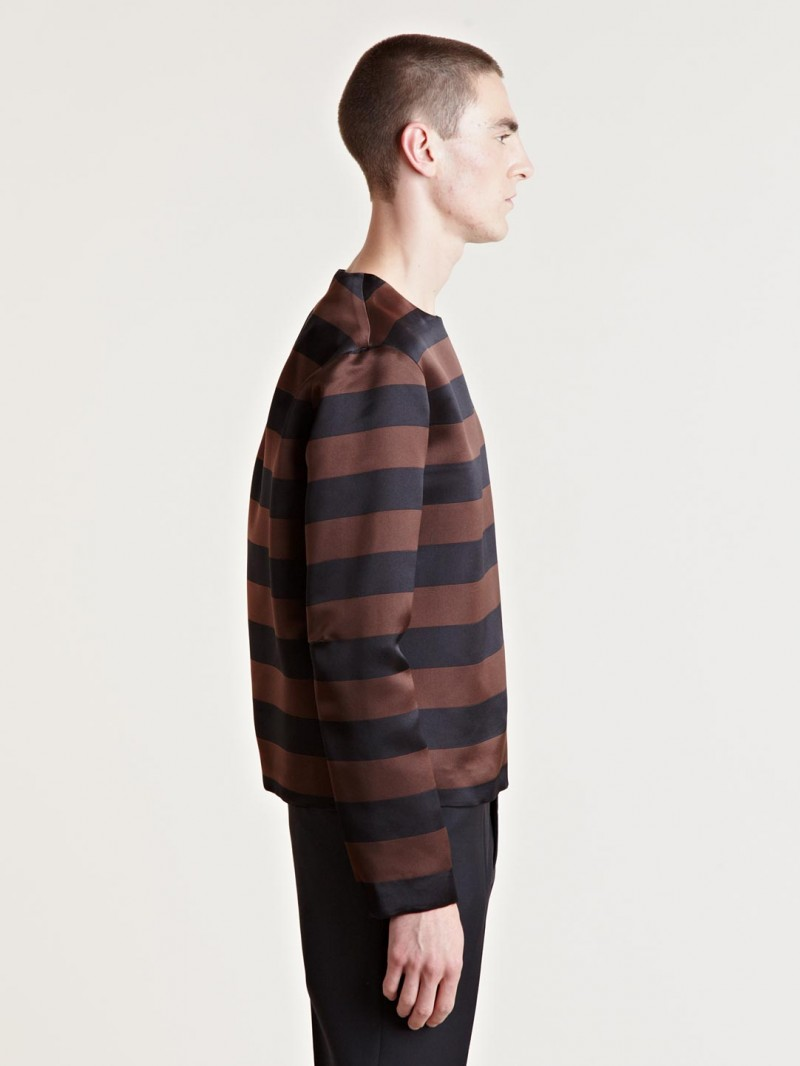 Raf Simons Men's Horizontal Stripe Top From AW13 Collection In Brown