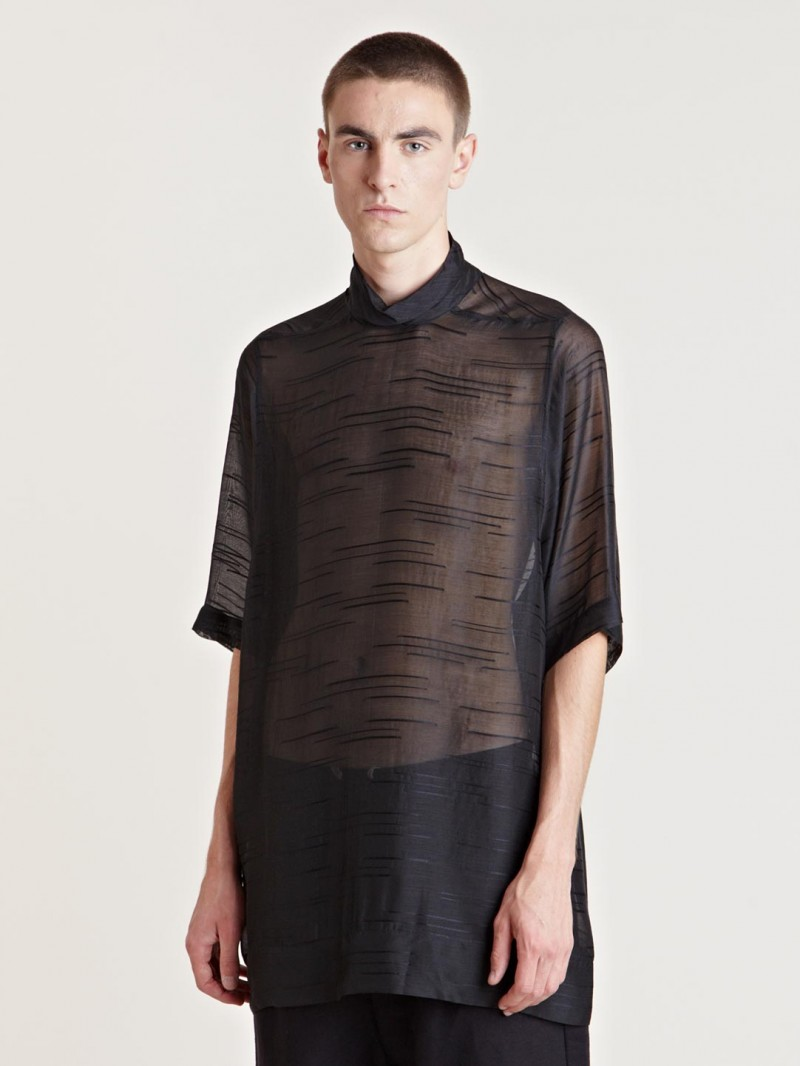 Rick Owens Men's High Neck Sheer T-Shirt From AW13 Collection In Black