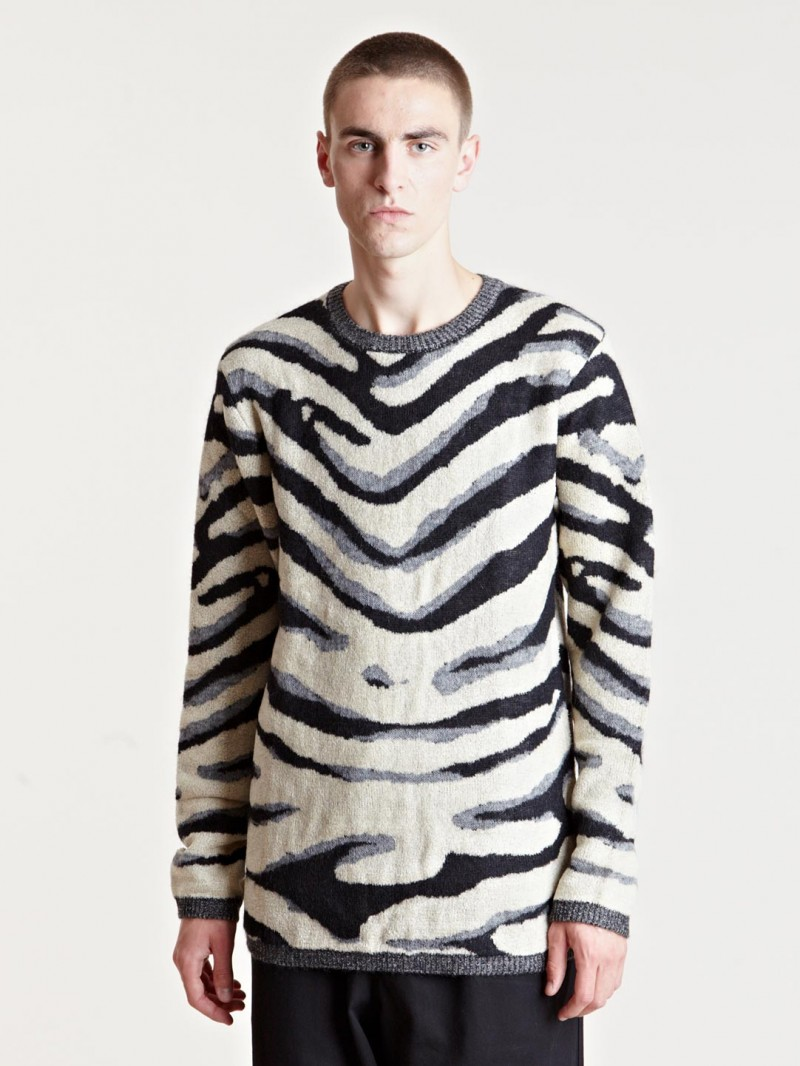 Yohji Yamamoto Men's Animal Knit Sweater From AW13 Collection In Black