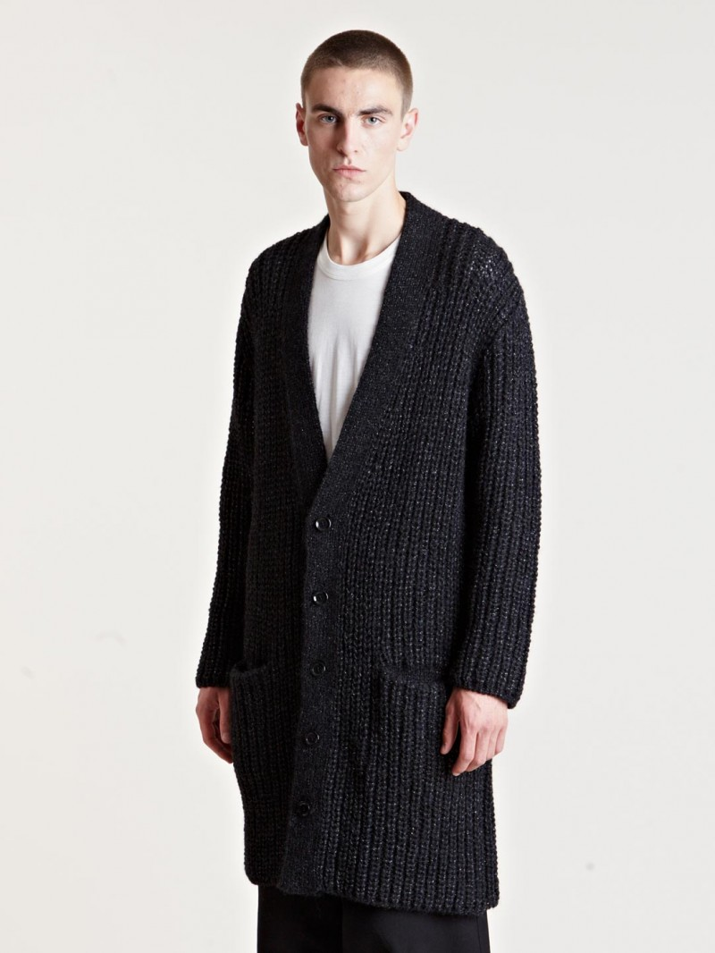 Yohji Yamamoto Men's Metallic Yarn Cardigan From AW13 Collection In Black