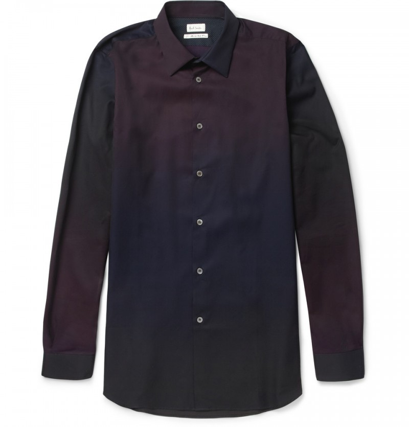 Paul Smith SLIM-FIT OMBRE PANELED COTTON SHIRT