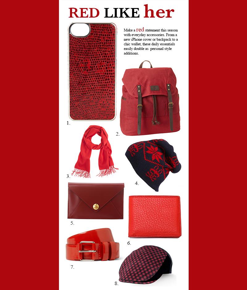 red men's accessories