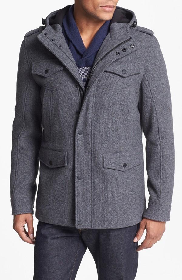 Black Rivet Wool Blend Hooded Military Jacket