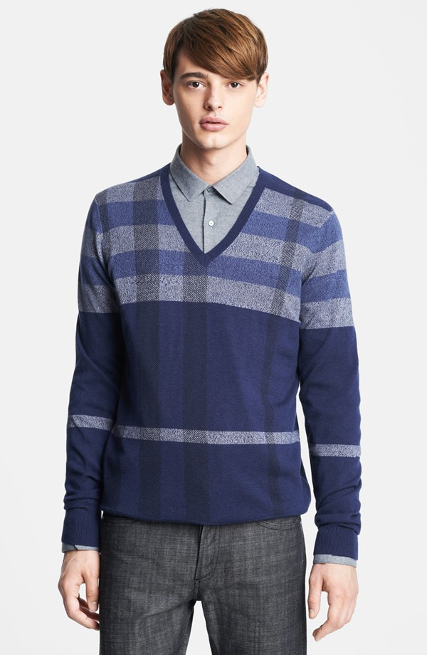 Burberry London Plaid Wool Blend V-Neck Sweater