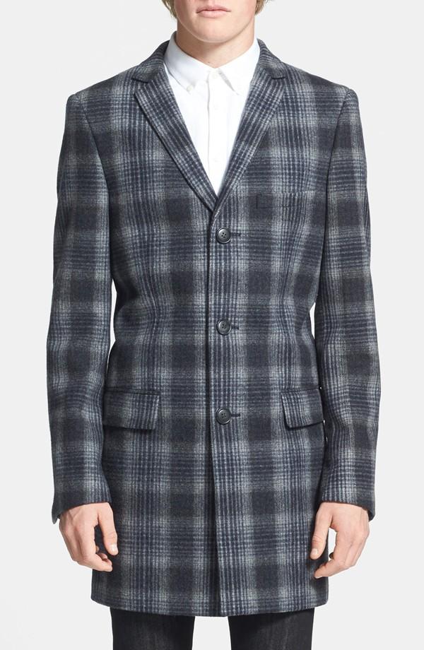 Topman Plaid Wool Blend Coat